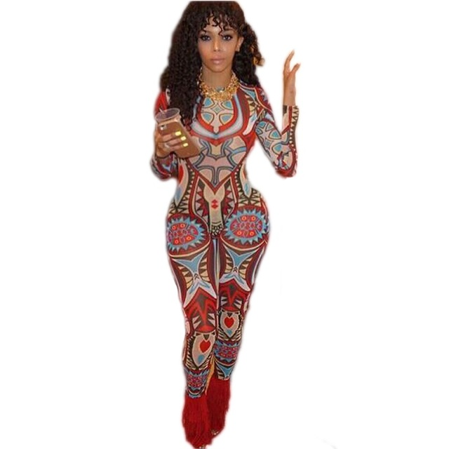 2165ea3eba0 Rompers Womens Jumpsuit Vintage Elegant Full Dashiki Sexy Club Party  Bodycon Bodysuit Long Sleeve African Print