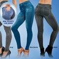 Plus Size Mulheres de Slim Leggings Jeans Mulher Calças Discoteca Meninas Leggins Jeggings Aptidão Preto Sexy Com 2 Bolsos Reais