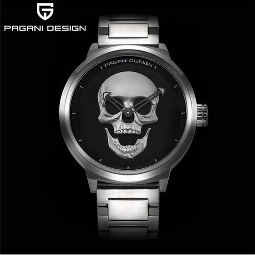 59fff0d741c Causal relógio de quartzo de Aço Inoxidável dos homens Da Marca do crânio  do punk 3d personalidade retro grande mostrador à prova d  água relogio  masculino ...