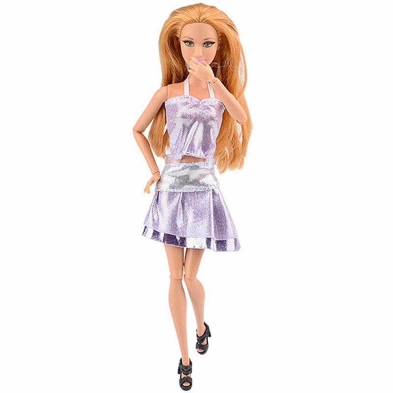 1 шт. серебристый мягкого плюша; аксессуары для куклы для малышей и детей постарше детская игрушка, кукла накладные ручной короткое платье; мультфильм Симпатичная Одежда для куклы Барби
