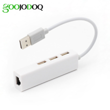 GOOJODOQ USB 2.0 Hub to RJ45 Lan Network Card USB to 10/100 Mbps Ethernet Adapter for Mac iOS Android PC Windows RTL8152 H14