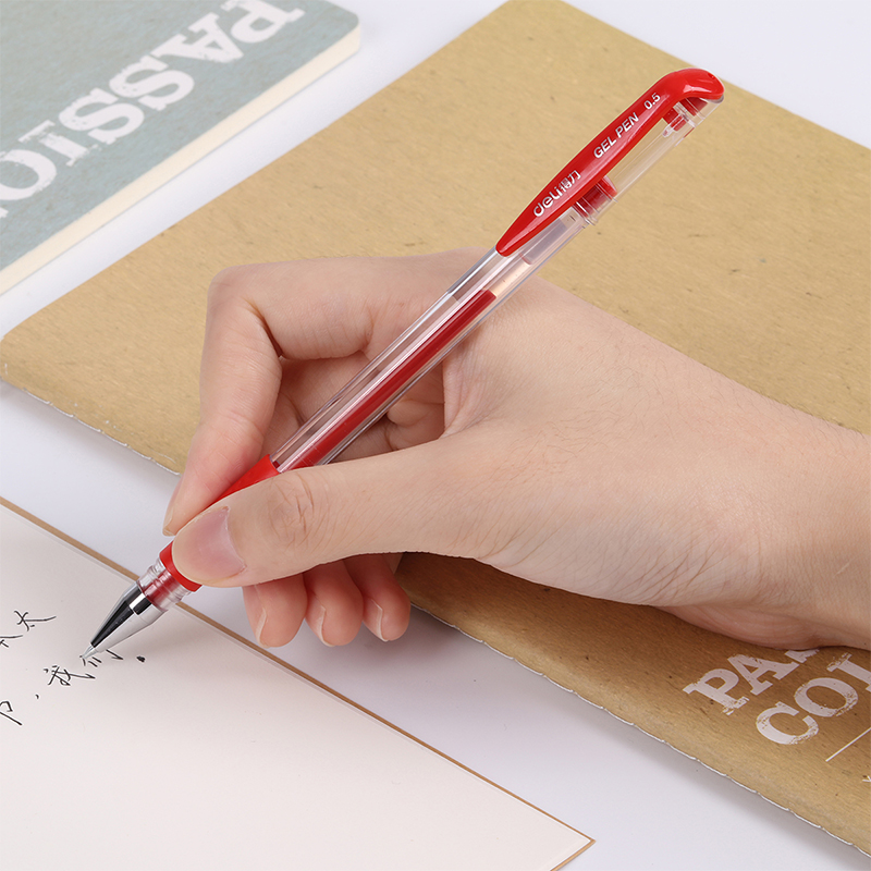 Купить deli 12 шт/лот гелевая ручка 05 мм офисные канцелярские принадлежности