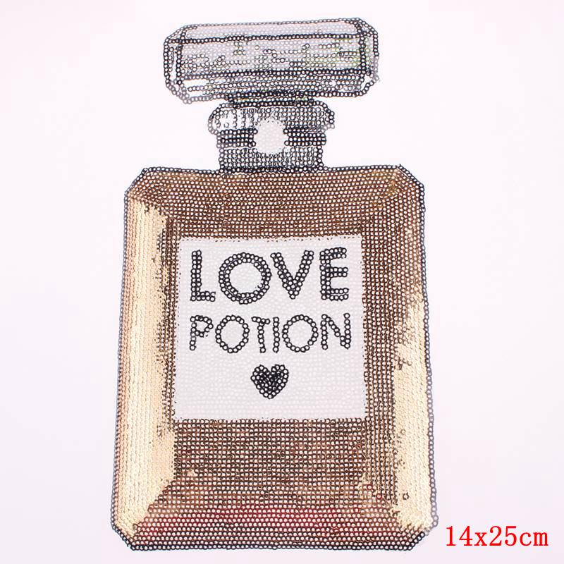 Prajna Sequin Patch Perfume Bottle Backpack Embroidered Patches For Clothes Clothing Celeb Dress Appliqued Badge Parches borda F