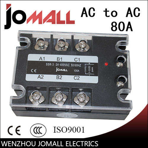 80A AC control AC SSR three phase Solid state relay genuine three phase solid state relay mgr 3 032 3880z dc ac dc control ac 80a
