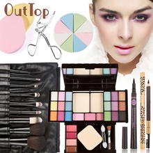 Mint  Makeup Kits Gift Set Eyeshadow Foundation Blusher Powder Lip Gloss Brushes Puff Aug19