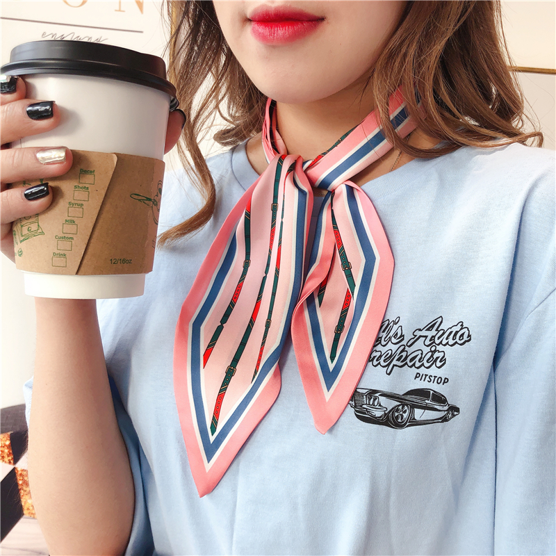 Women Neck Scarf Design Print 2020 New Lady's Silk Skinny Hair Scarfs Female Head Band Wrist Tie Fashion Neckerchief