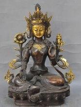 28 cm * / Tibet Buddhism Bronze Gilt Green Tara Goddess Kwan-Yin Buddha Statue