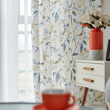 American Pastoral Country Crushed Flowers Thickened Fine Linen Printing Shade Curtains for Living Dining Room Bedroom.