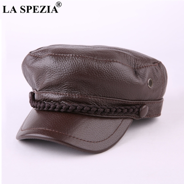 65df7b0a571 LA SPEZIA Men Newsboy Hat Genuine Leather Brown Spring Gatsby Cap Casual  Women Baker Boy Caps