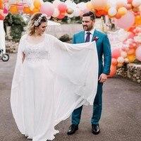TANYA BRIDAL Long Chiffon Single Layer Wedding Shawl Simple and Elegant Sleeveless Cheap Bridal Coat JQ511