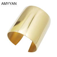 Latest Design Big Heavy Cuff Bracelet Punk Statement Bangle Gold Jewelry For Women Blank Plain 316L
