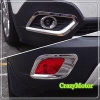 For Vauxhall Opel Mokka 2013 2014 2015 ABS Chrome Front Rear Fog Light Lamp Garnish Surround