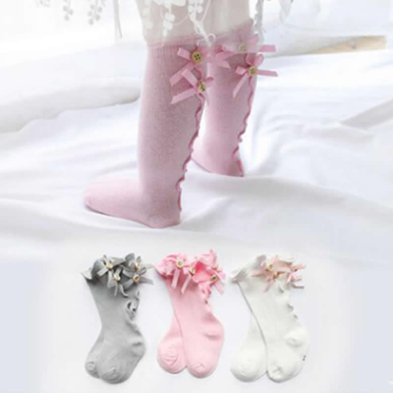 Baby Girl Bow Wood Ear Baby Socks Knee High Toddler Trousers Cotton Tube Girls Lace Kids Socks Girl Leg Warms Autum Sock