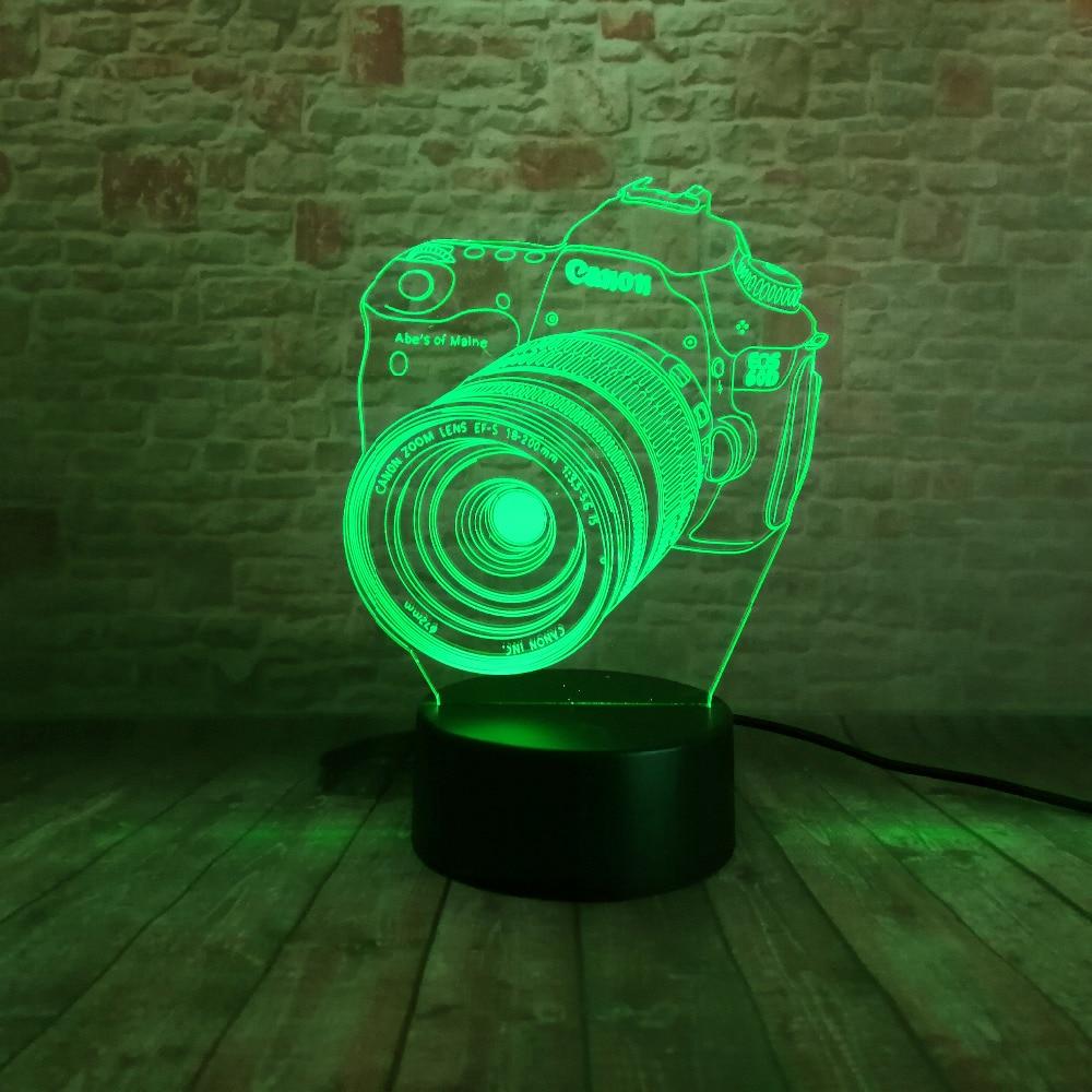 Nouveau 3D Caméra Tactile Télécommande LED 7 Changement De Couleur - Veilleuses - Photo 2