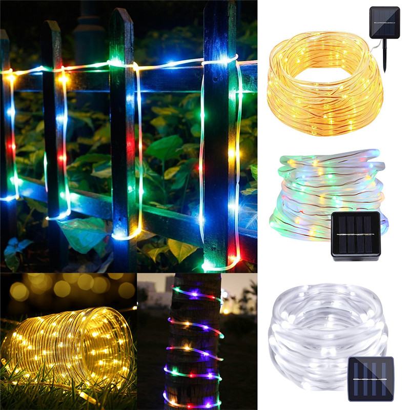 12M 100leds Outdoor Solar Powered String Fairy Light Rope Tube Holiday Party Wedding Christmas Garden Waterproof LED Lights 5m 50leds battery powered led rope tube string lights fairy light waterproof outdoor christmas garden path fence tree lights