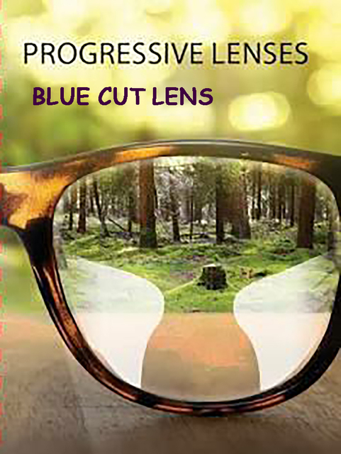 4add58a37 1.61 interno lente multifocal Progressiva lente Azul corte de forma livre  para computador anti glare lens