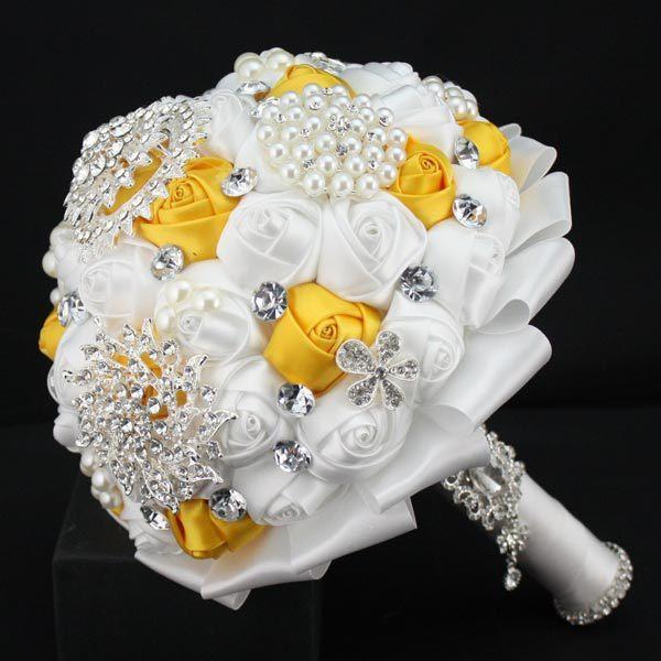 Желтый роскошный горный хрусталь искусственного люкс свадебные букеты рамо Novia Mariage невесты Accessoires
