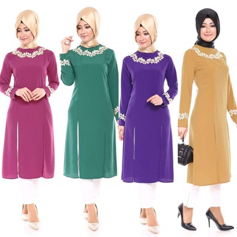 Fashion Lady Large Size Muslim Turkey Split The Fork Women's Shirt Dress Islamic Abaya Jilbab Middle East Maxi Dress New