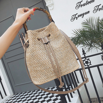LJL New Drawstring Women's Straw Bucket Bag Summer Woven Shoulder Bags Shopping Purse Beach Handbag Straw Handbags Travel Bag
