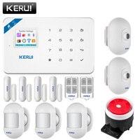 Güvenlik ve Koruma'ten Alarm Sistemi Kitleri'de KERUI W18 1.7 inç TFT renkli ekran uzun bekleme kablosuz wifi gsm alarm sistemi ev güvenlik alarm sistemi