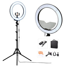 Studio Dimmable 18″ 55W 5500K LED Camera Mirror Video Ring Light Kit with 2M Stand, Color Filer and Carry Bag for Makeup Photo
