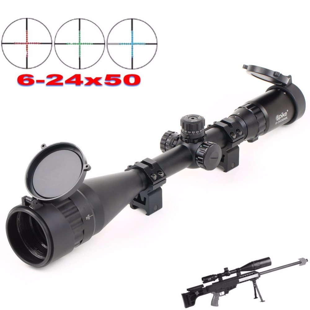 6-24X50 Precise Red Green Dot Sight Scope Illuminated Optics Rifle scope Front And Rear Sights Hunting Riflescope For Airsoft 3 9x40eg red green dot rifle scope illuminated hunting riflescope optics sniper scope sight for hunting