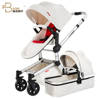 Luxury Baby Stroller with Bassinet 2 in 1 High landscape Pram with Carrycot Leather Cover