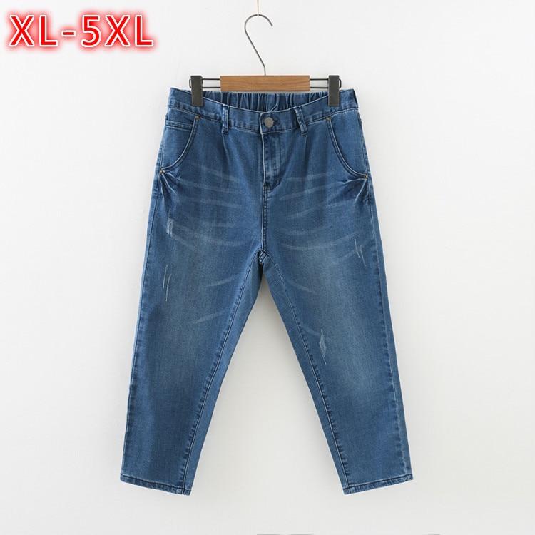 Summer Woman jeans Plus Size Stretch Mom Slim Skinny Pencil Denim Pants Elastic Waist Capri Pants Women High Waist XL-5XL