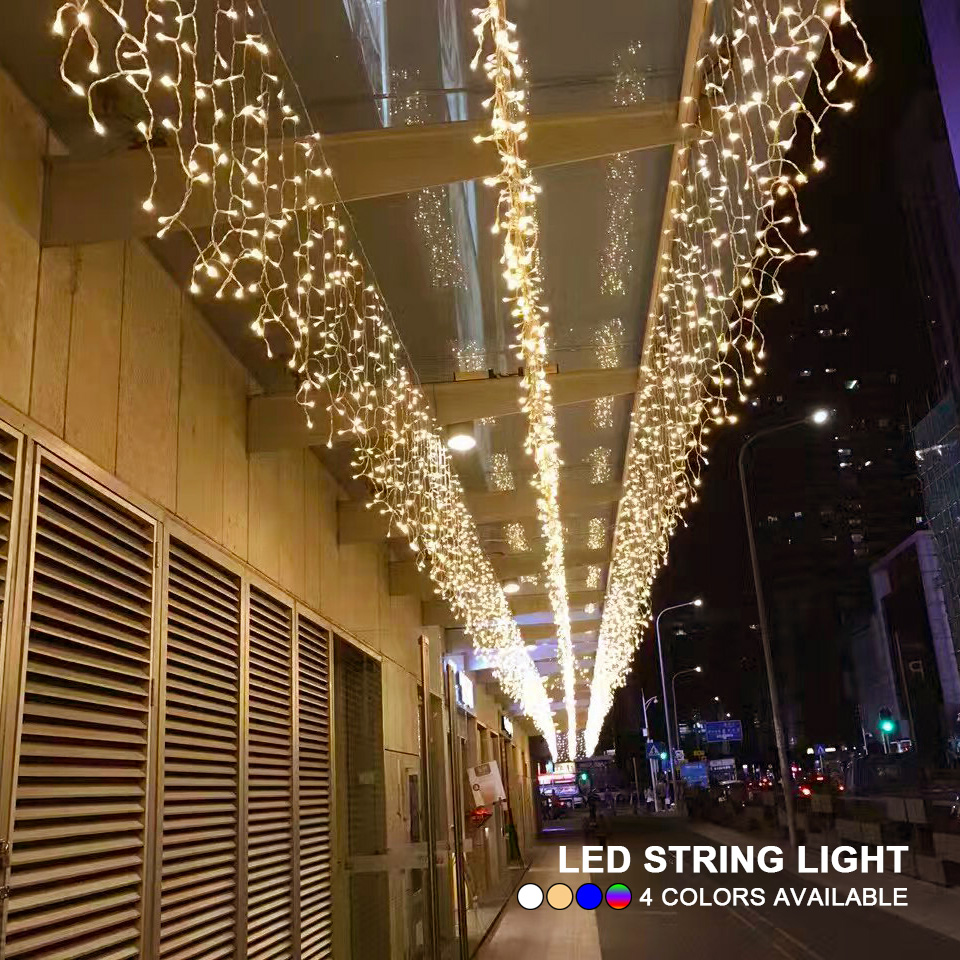 4M 13ft Droop 0.4m 0.5m 0.6m LED String Lights Curtain Icicle Garland For Christmas Holiday Wedding Party Outdoor Decoration