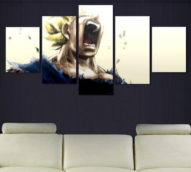 5 piece canvas prints wall picture art painting modern cartoon shouting vegeta dragon balls pictures prints