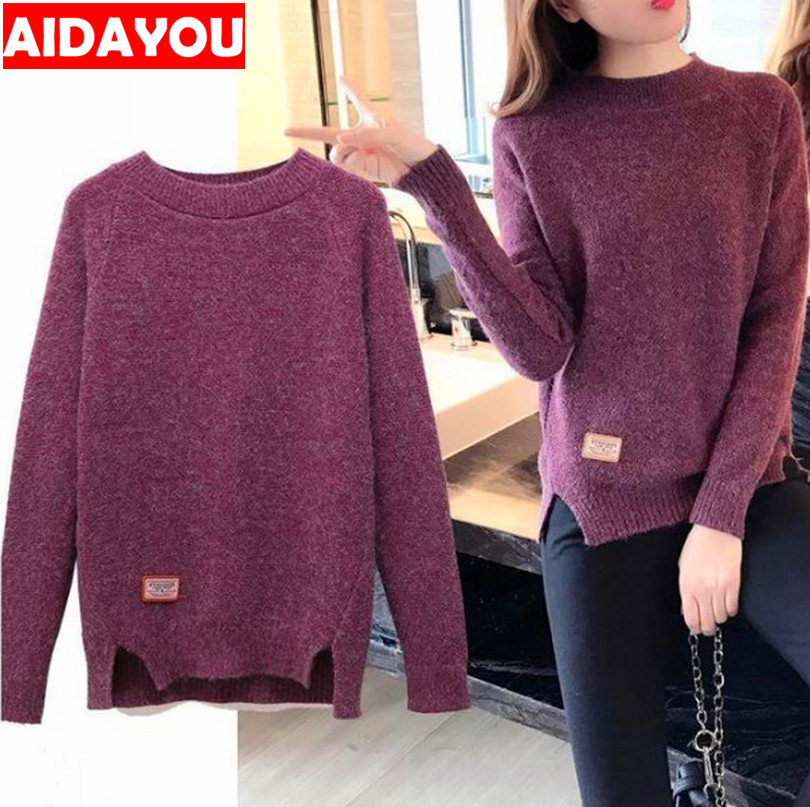Women Sweater Tops And Pullovers Winter Knitwear Cotton Mock-Neck Sweater Outfit Casual Plus Size Knitted Ouc238 Aidayou