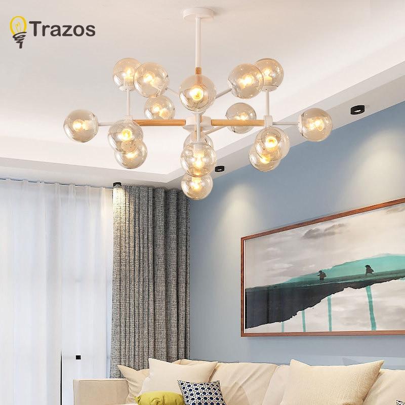 TRAZOS New modern led chandelier for living room bedroom dining room Iron/wood Indoor home chandelier lamp lighting fixture