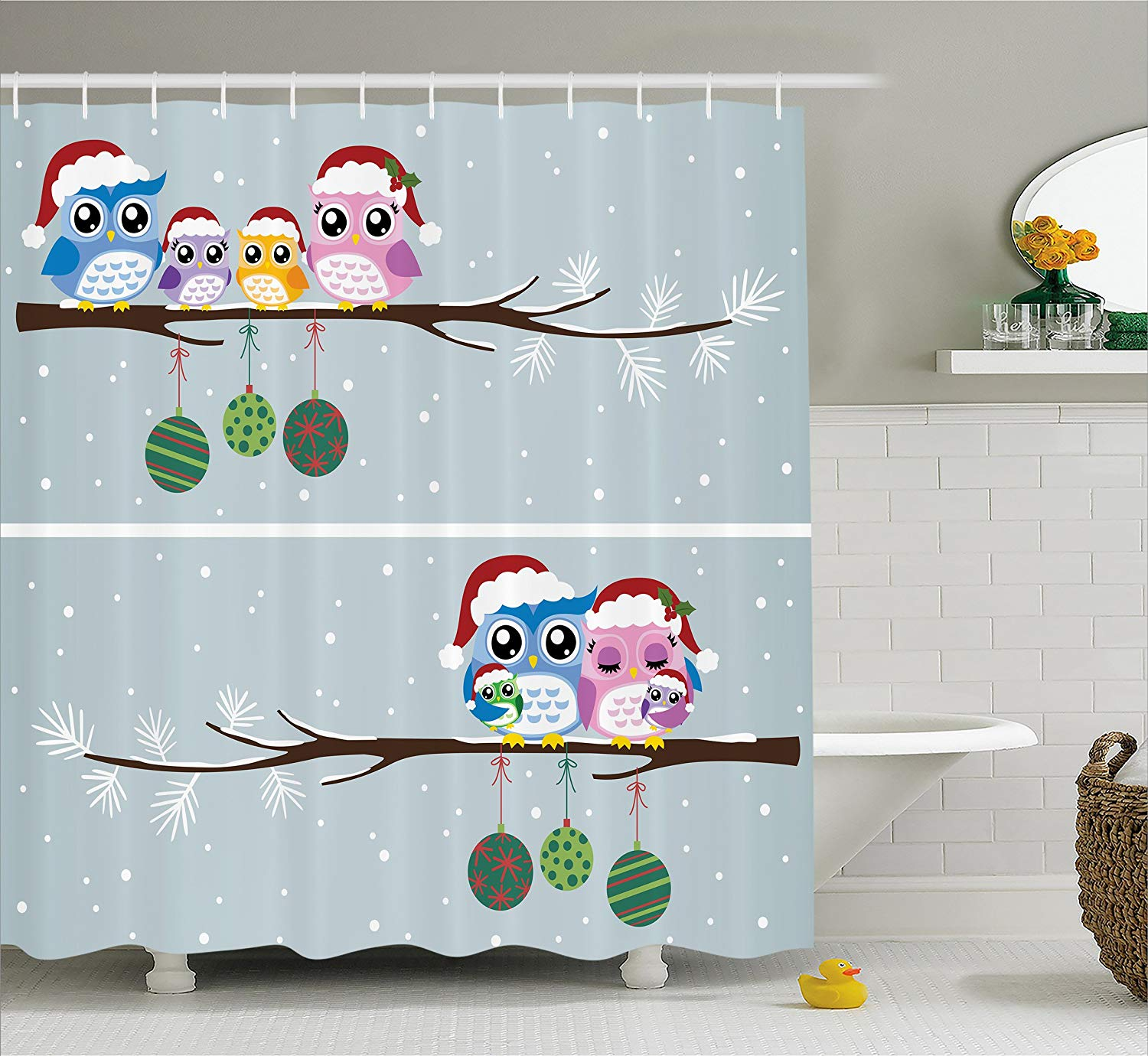 Christmas Shower Curtain Owl On Tree Branch Celebration