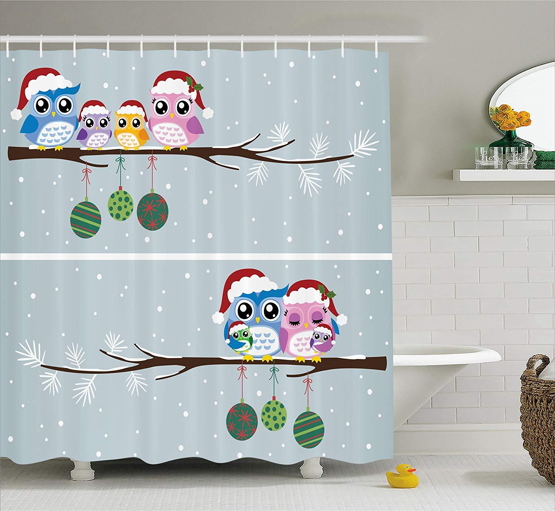 Christmas Shower Curtain Owl On Tree Branch Celebration