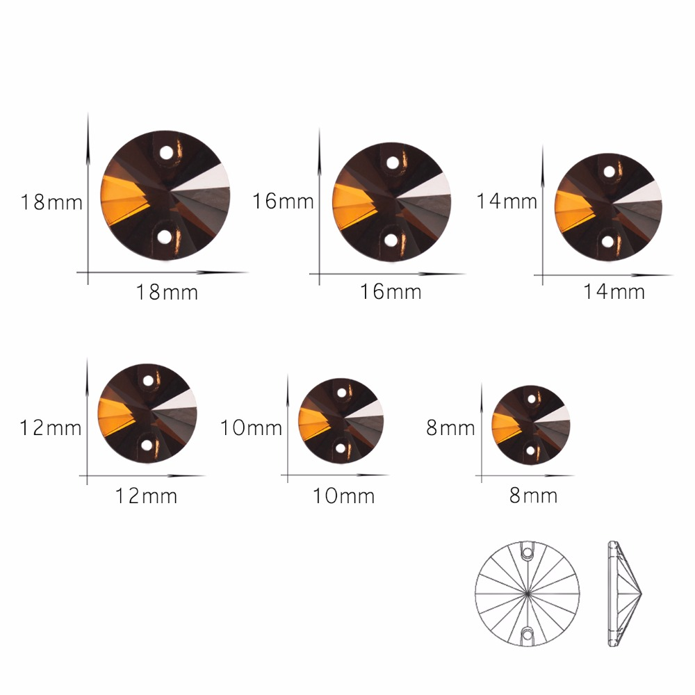 Charms Lt Col Topaz 3200 Rivoli Mix Size Flat Back Glass Rhinestones Beads Sew On Wedding Shoes Bags Design DIY For Clothes in Rhinestones from Home Garden