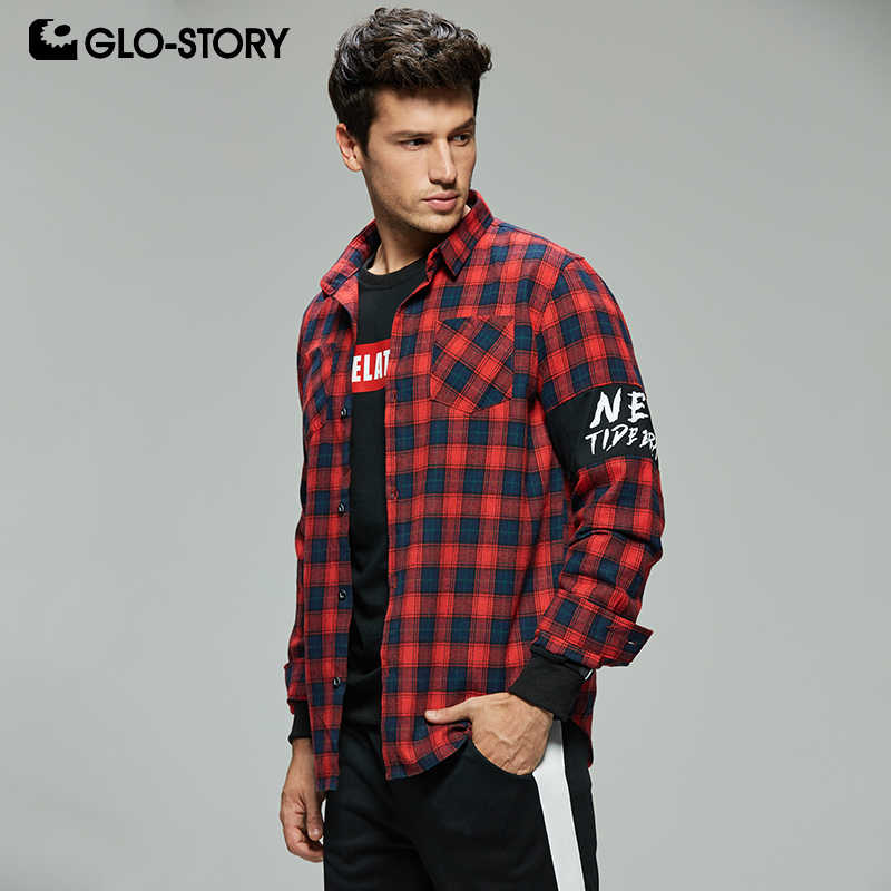 GLO-STORY Men's 2019 Casual Streetwear Long Sleeve Flanel Plaid Shirts Men Checked Shirt Blouse Tops MCS-8293