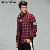 GLO STORY Men's 2019 Casual Streetwear Long Sleeve Flanel Plaid Shirts Men Checked Shirt Blouse Tops MCS 8293