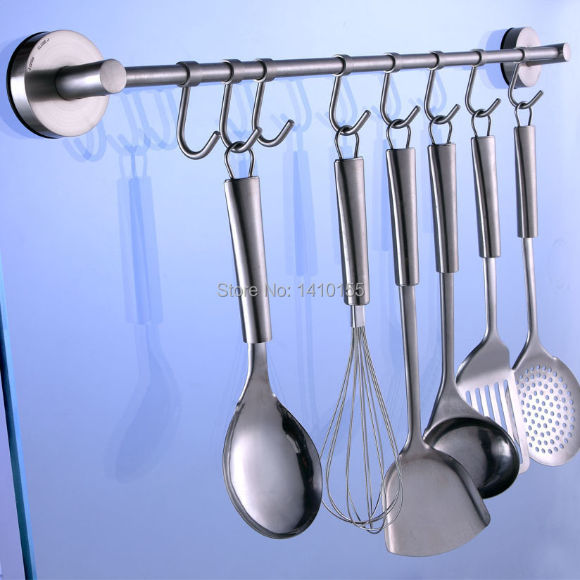 Awooden Stainless Steel Vacuum Suction Cooking Tool Rack Kitchen Utensils  Hanger Ladle Spatula Whisk Hook For Kitchen Decoration In Home Storage ...