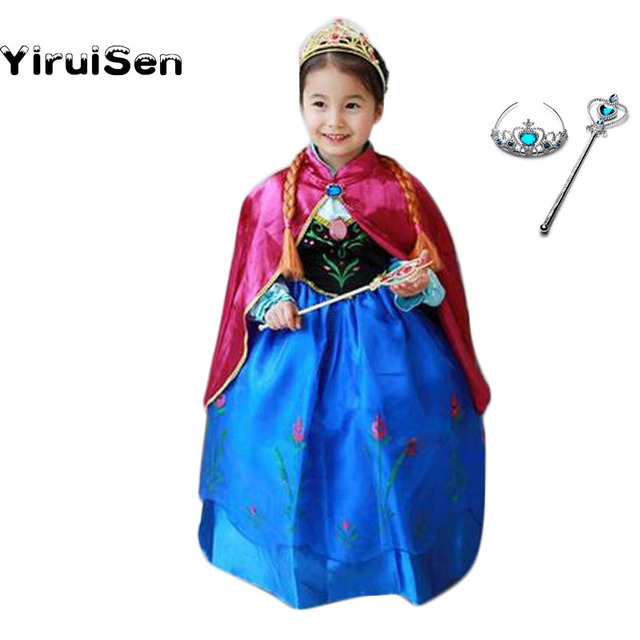 kids dresses for girls anna costume birthday party carnival halloween 4 year children girls dress princess