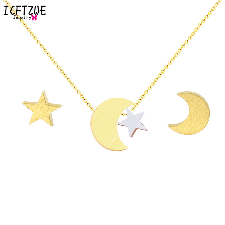 ICFTZWE Bridesmaid Gift Gold Stud Earring Collier Moon and Star Necklace Stainless Steel Jewelry Sets For Women Boucle D'oreille