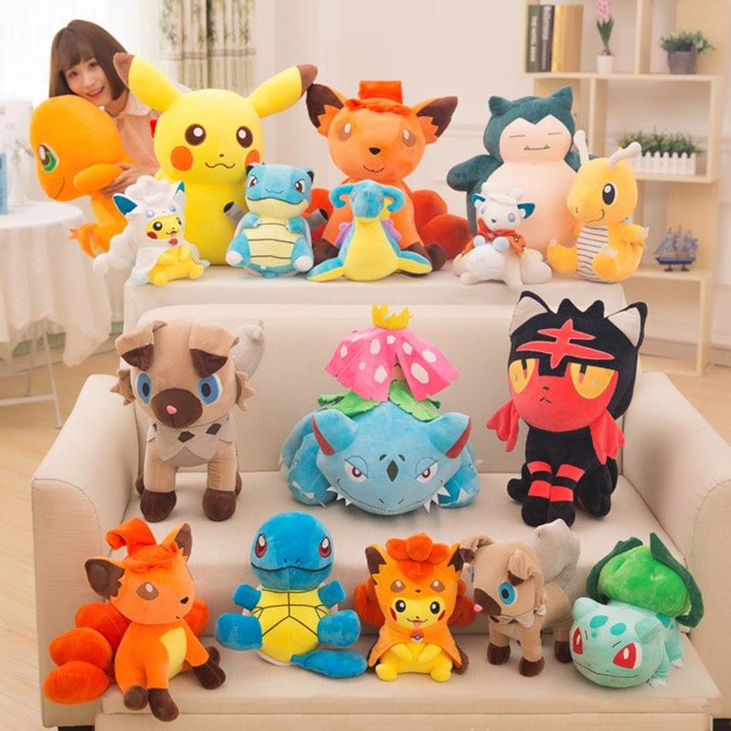 15-30cm Cartoon Snorlax Pika Charmander Plush Toys Children Gift Kawaii Baby Kids Toy Pkm Stuffed Plush Doll Toys