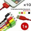 10 unids/lote colorido 1 m 30pin usb fecha sync cabo nylon línea adaptador de cables del cargador para iphone 4 4s envío libre