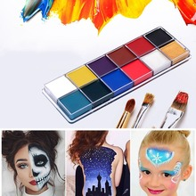 12 Colors Tattoos Color Pigment Face Body Paint Oil Painting Art Make Up With Brushes Halloween Party Fancy Dress Makeup Tools party cosplay zombie teeth 6 color face body painting pigment white red multi color