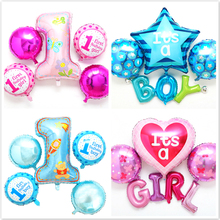 5pcs Number 1 st balloon Baby child birthday party bule pink decoration kid 1st balloons