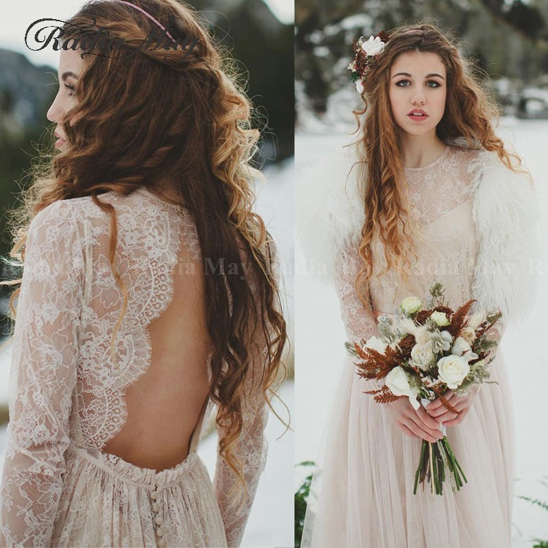 Romantic Lace Long Sleeves Boho Wedding Dress 2019 Vintage Nude Lining Country Wedding Gowns Sexy Backless Beach Bridal Dresses
