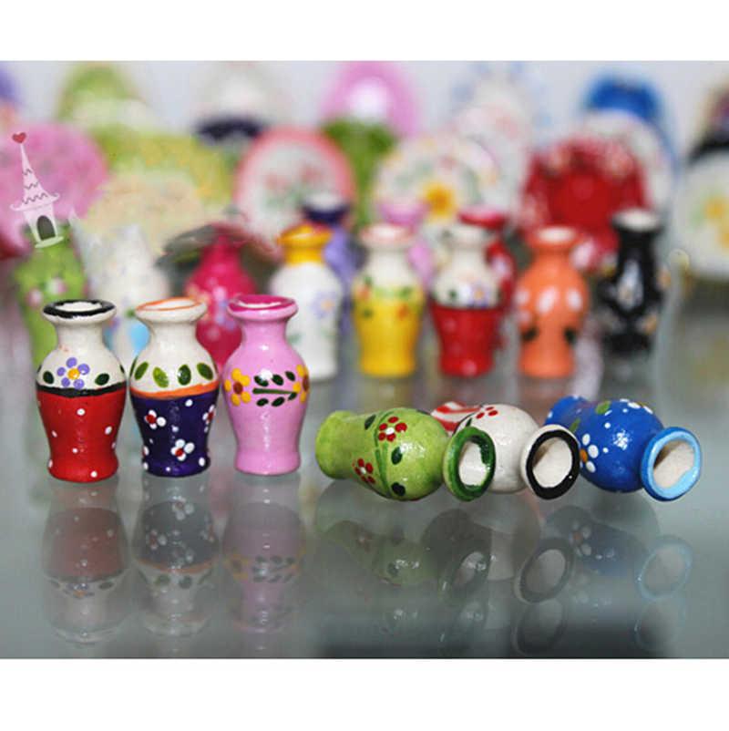1/2 шт 1/12 кукольный домик миниатюра керамическая фарфоровая ваза Кухня игрушки Кукольный дом Decotration подарок для ребенка Дети Вышивка крестом Пакет в том числе: