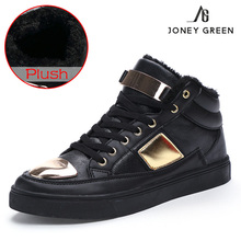 JONEY GREEN Brand Fashion Men's Winter Snow Boots Flock Red Warm Casual Shoes Comfortable Walking Shoe for Men Zapatillas Hombre