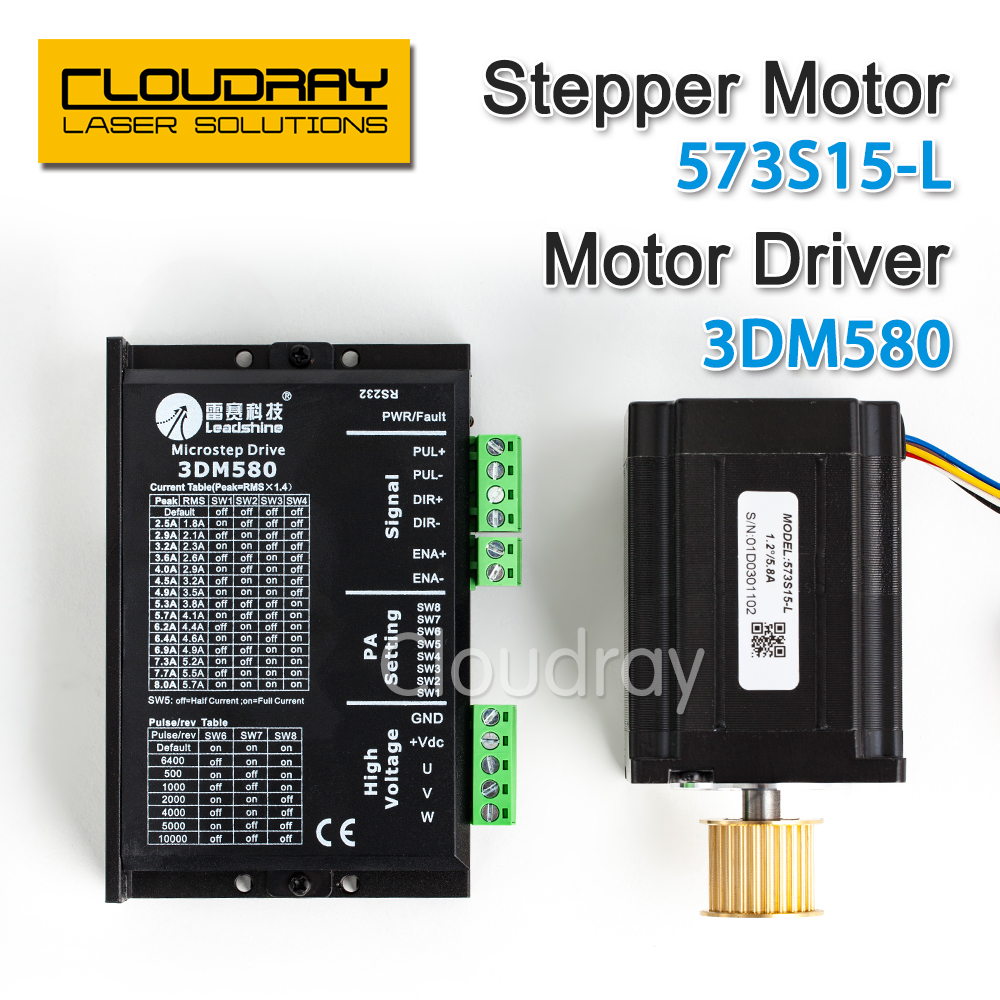 Cloudray Leadshine 3 Phase Stepper Motor 573S15-L+ Stepper Driver 3DM580 for CO2 Laser Engraving Cutting Machine ce fda approved best digital tone hearing aids aid behind the ear sound amplifier brand new