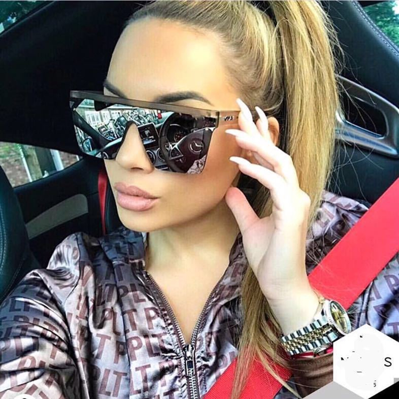 Oversized Square Sunglasses Men Women Flat Top Fashion One Piece Lens Sun Glasses For Women Brand 2018 Shades Mirror