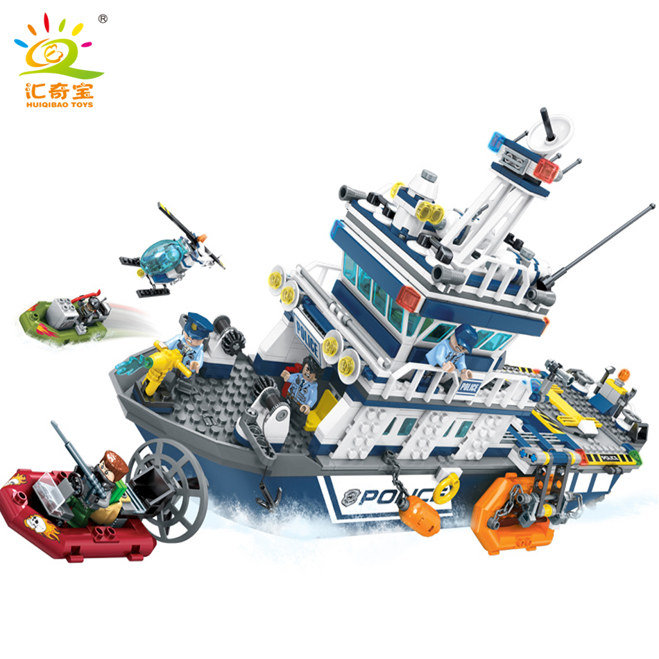 869PCS City Police Patrol Boat Helicopter Model Building Blocks Compatible Legoed Friends Enlighten Classic Bricks Toys For Kids b1600 sluban city police swat patrol car model building blocks classic enlighten diy figure toys for children compatible legoe